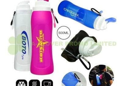 Foldable silicone drink bottles
