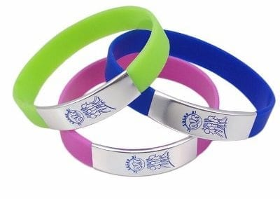 silicone wristband with metal plate